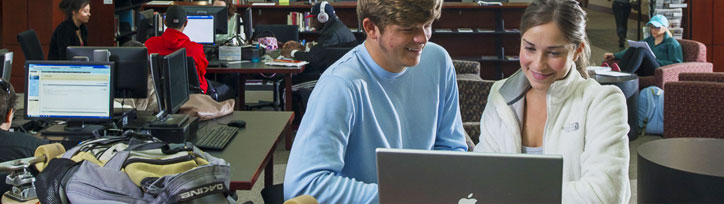 Picture of students using computers in the library